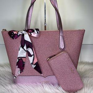 💕 Kate Spade 👛 Lola Glitter Tote Wallet & Scarf